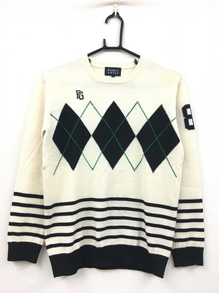 パーリーゲイツ 長袖セーター アイボリー×黒×グリーン アーガイル柄