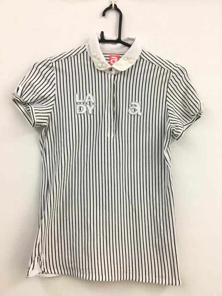 アルチビオ 半袖ポロシャツ 白×黒 ストライプ フェイクパール