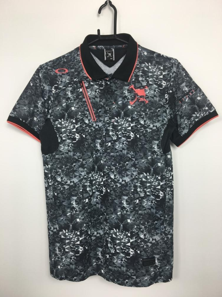 オークリー 半袖ポロシャツ グレー×黒×白