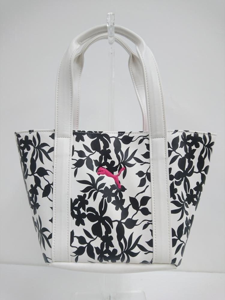 PUMA プーマ カートバッグ 白×黒×ピンク 花柄