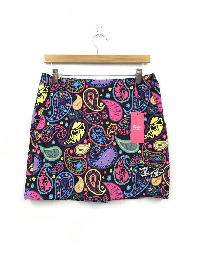 ダンスウィズドラゴン ミニスカート 黒×ピンク×マルチ ペイズリー柄