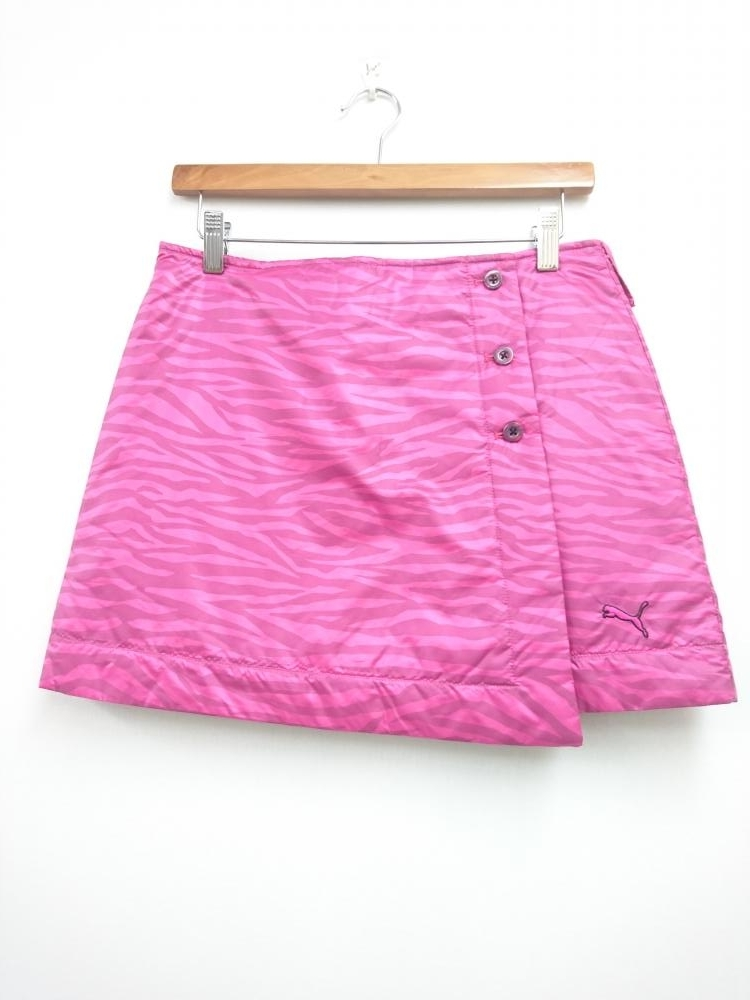 プーマ 中綿ミニスカート ピンク×グレー ゼブラ柄