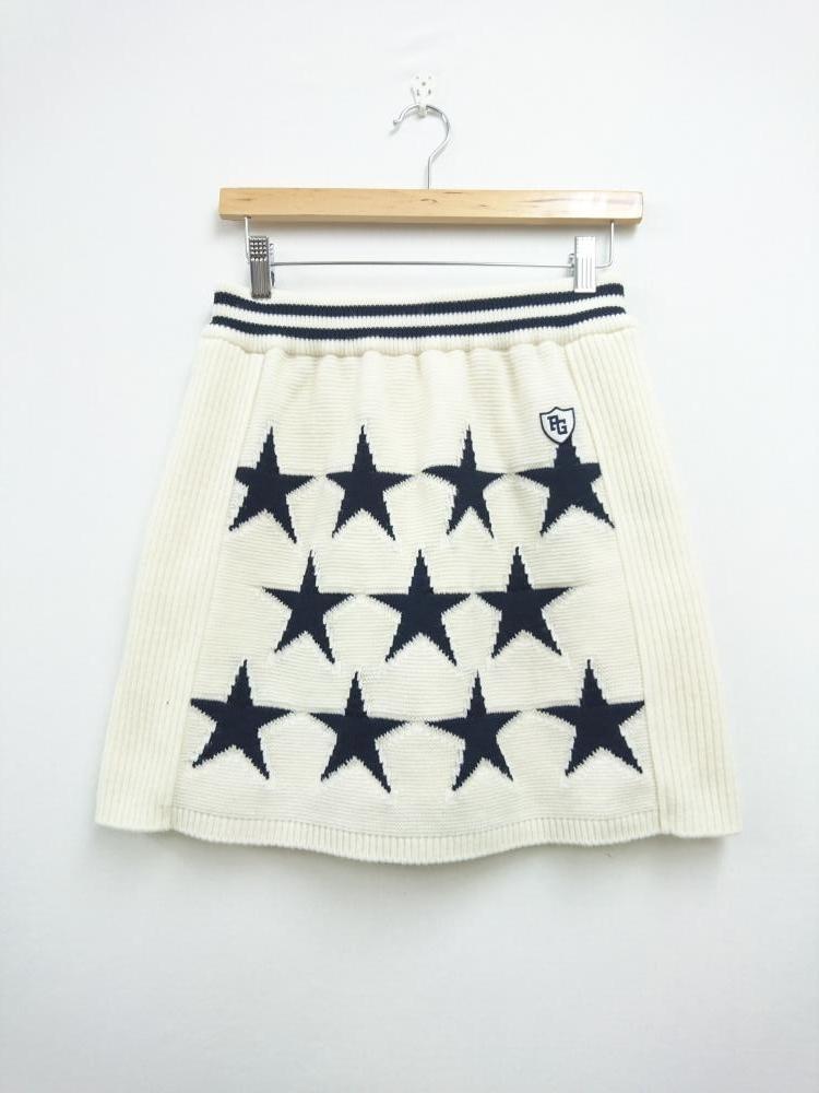 パーリーゲイツ ニットスカート アイボリー×ダークネイビー 星柄