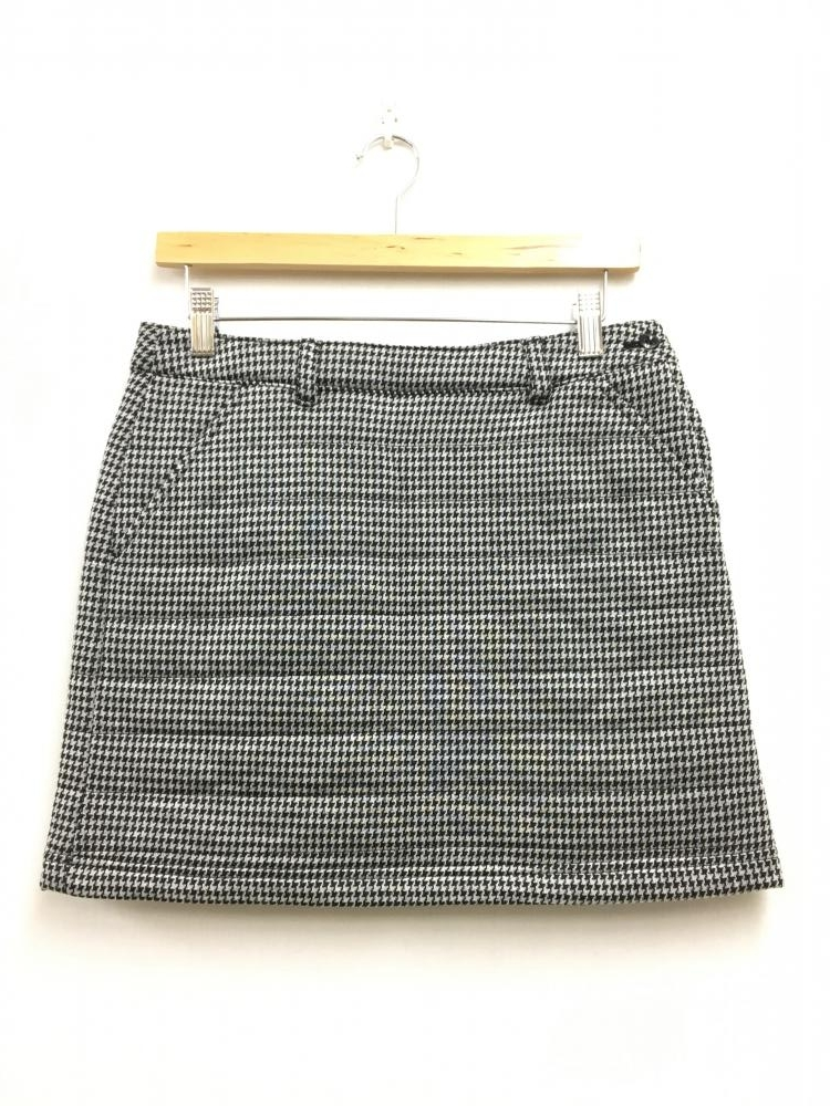 ビームスゴルフ 中綿ニットスカート 黒×白 千鳥格子柄