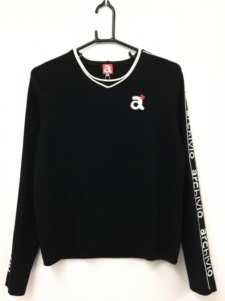 アルチビオ 長袖セーター 黒×白 袖ロゴ