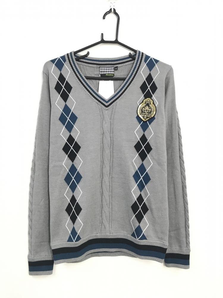 ラッセルノ 長袖セーター グレー×ネイビー×黒 アーガイル柄
