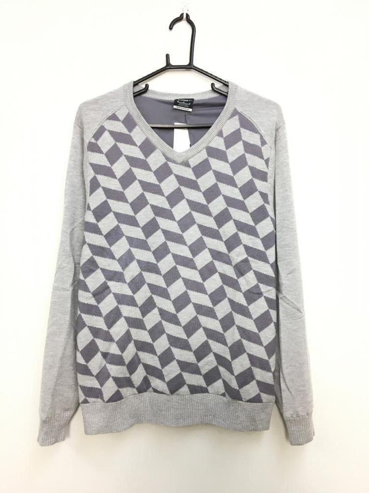 ナイキゴルフ 長袖セーター 杢ライトグレー×パープルグレー