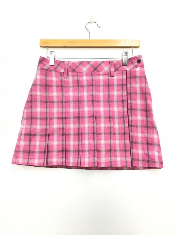 アディダス スカート ピンク×ライトグレー チェック柄