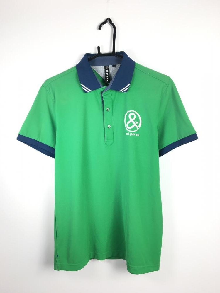 アンパスィ 半袖ポロシャツ グリーン×ネイビー
