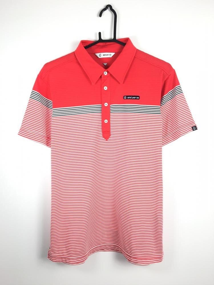 アンパスィ 半袖ポロシャツ レッド×白×黒 ボーダー