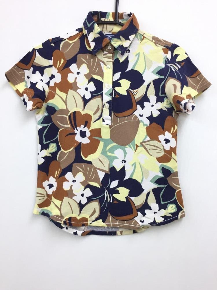 キャロウェイ 半袖ポロシャツ ダークネイビー×ブラウン×白 花柄