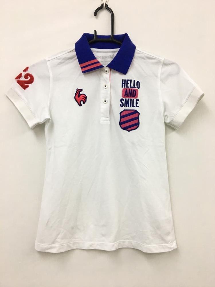 ルコック 半袖ポロシャツ 白×ピンク×パープル ワッペン