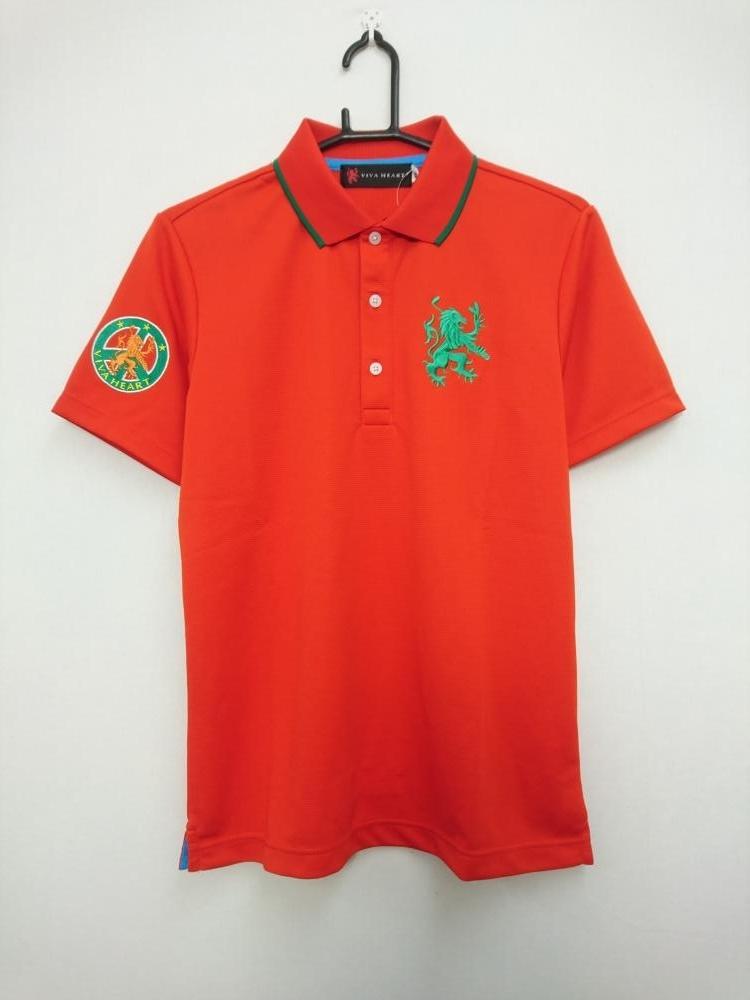 ビバハート 半袖ポロシャツ レッド×グリーン