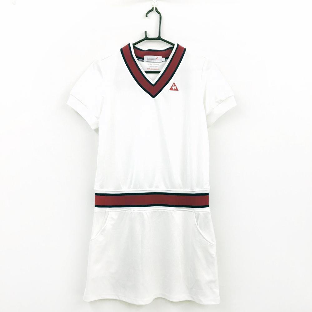 le coq sportif ルコック ワンピース 白×レッド Vネック 襟、ウエストリブ ロゴ刺繍