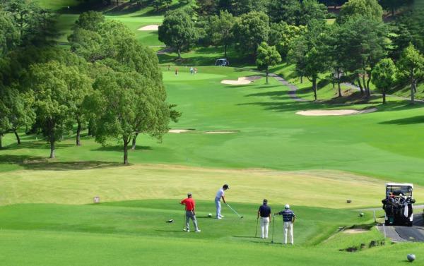 ゴルフ場で接待ゴルフを楽しむゴルファー
